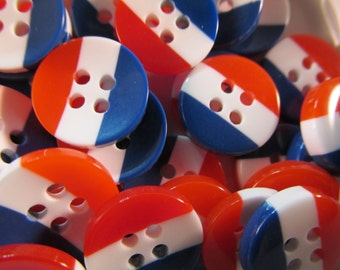 10 America Buttons- 12mm- Acryclic Red White and Blue USA Fourth of July Patriotic Sewing- Scrapbooking- Jewelry Making- Crafts