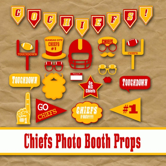 Kansas City Chiefs Football Printable Photo Booth Props