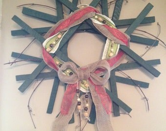Christmas Wreath, Door Wreath, Holiday Wreath, Primitive Country Wreath, Wood Wreath, Christmas Decorations