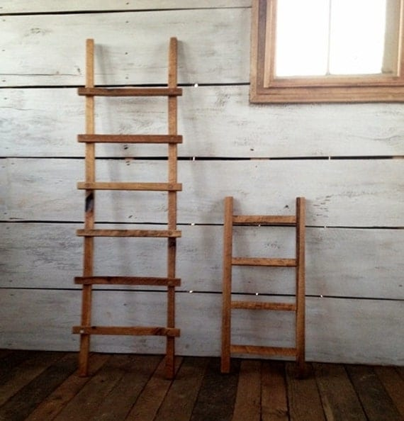 bois chelle chelle de bois d coratif primitif bois ladder. Black Bedroom Furniture Sets. Home Design Ideas