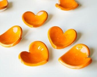 10 Orange Heart, Wedding Favors, Ceramic Heart , 10 pieces, Little Heart Bowl, Wedding Party Favors, Ceramics and Pottery, READY TO SHIP