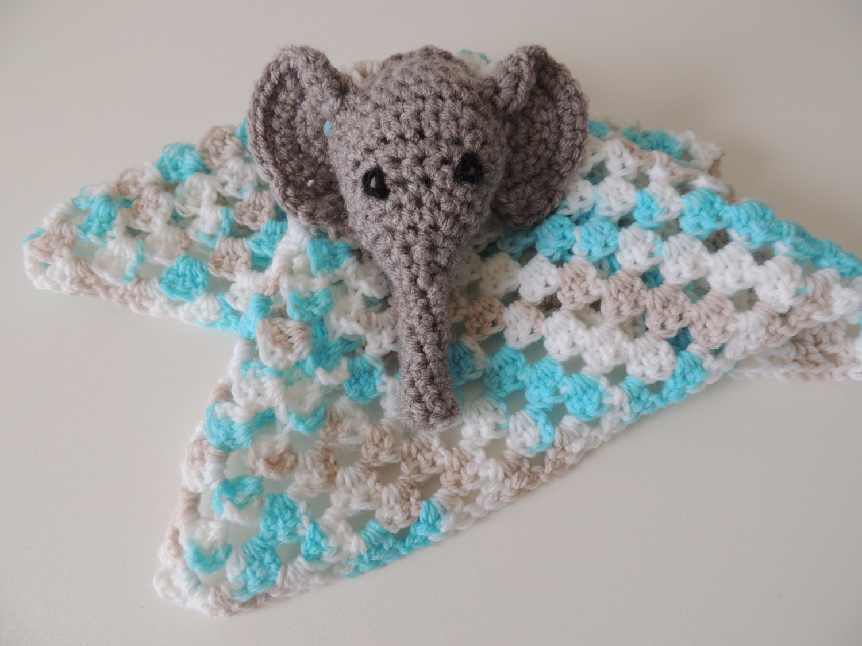 Amigurumi Elephant Snuggle : Cuddle Elephant Crochet Security Blanket for by AWrinkleOfMine
