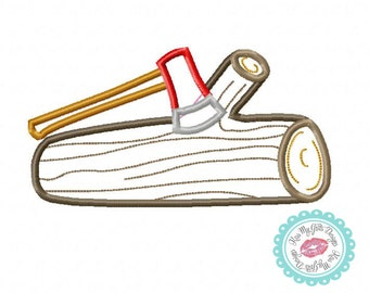 Log and Axe Machine Embroidery Applique Design