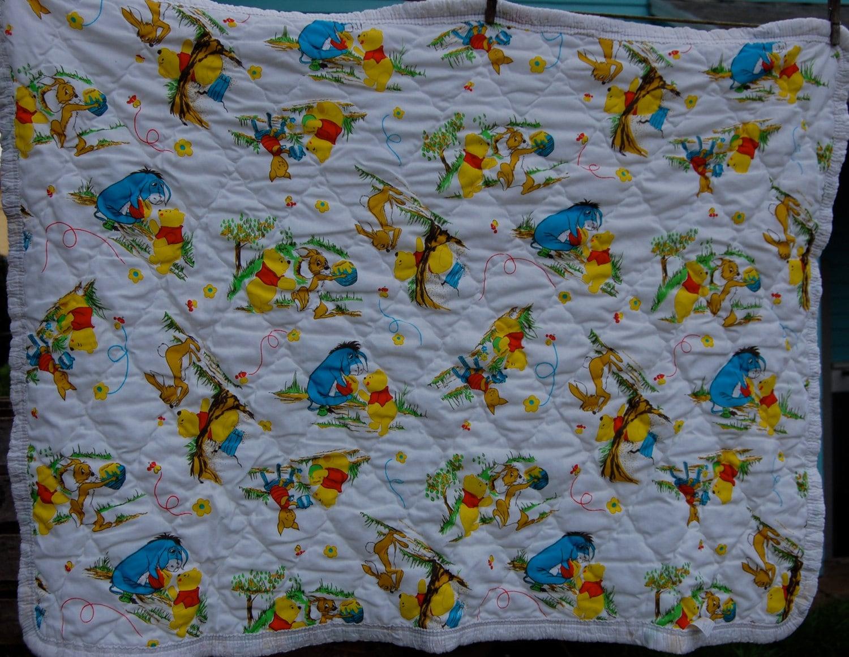 Vintage Quilted Crib Blanket Winnie The Pooh Disney Sears