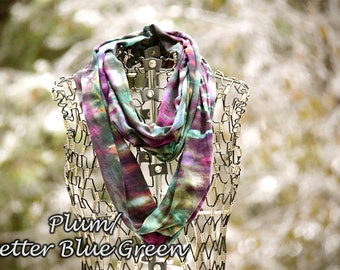 Infinity Scarf-Cotton Jersey Scarf-Tie Dye Scarf-Plum and Better Blue Green OR Pick your two colors