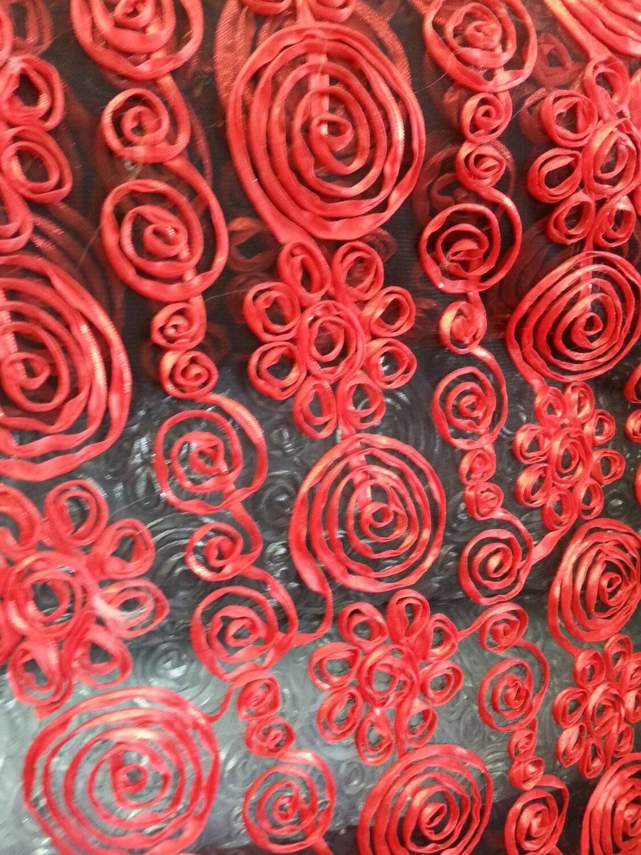 Black mesh on red rosette design fabric sold by the yard for Fabric sold by the yard