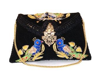 Ruhmet Birds Of A Feather Clutch Bag Black
