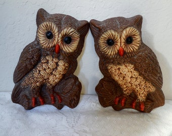 Owl Wall Art, Set of 2 Plaques, Brown 1970s Home Decor, Wall Hanging