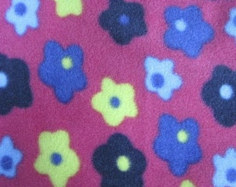 Polar fleece pink with coloured flowers per metre - FREE shipping