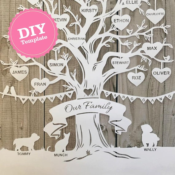 Wedding Tree Genealogy Chart By Melangeriedesign On Etsy: DIY Stammbaum Papierschnitt Vorlage. PaperCut Von
