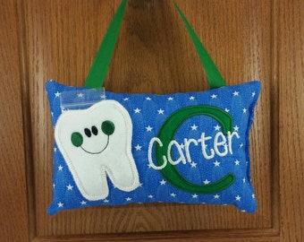 Boys tooth fairy pillow, blue with white stars, door hanger, bed post hanger.