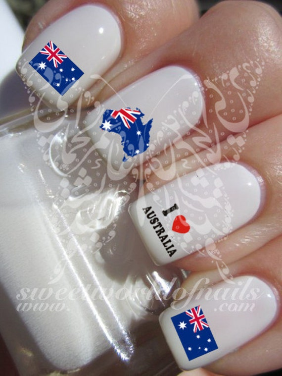 Nail Art  I love Australia flag Nail Water Decals Transfers Wraps