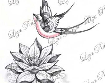 Lotus and Swallow tattoo design pink lotus flower waterlily with Swallow bird tattoo by Liza Paizis