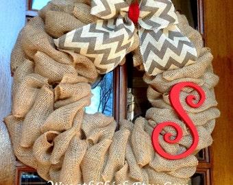Door wreath, Burlap wreath, Spring wreath, Valentine Wreath, Summer Wreath, All Season Wreath, Monogram Initial wreath, Front door wreath