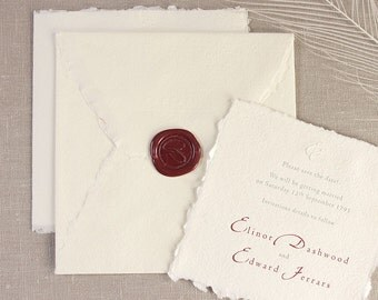 Traditional Royal Wedding Invitation with Letterpress, Organic Cotton and Beewax plus Envelopes and Personalisation
