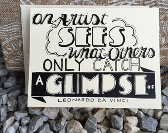 Glimpse Blank Hand Lettered Quote Card
