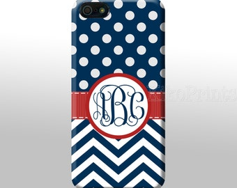 iPhone 6 Galaxy S6 S6 Edge Blue Polka Dots Blue Chevron Monogrammed iPhone 4/4S 5/5S 5C 6 Galaxy S4 case Personalized phone case