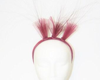 Burgundy Crinolin And Braid Detail Headband With Herl Feathers