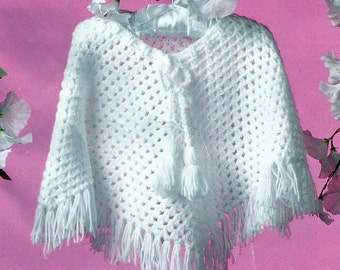 Instant Download - PDF- Lovely Easy Baby Crochet Poncho Pattern (CB30)