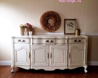 SOLD- white shabby chic French provincial buffet sideboard credenza cabinet San Francisco Bay Area-