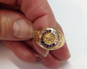 Vintage 10 Gold Enameled United States Navy Ring