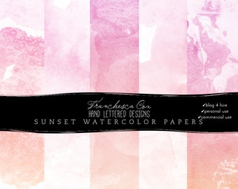INSTANT DOWNLOAD // Sunset Watercolor Background Papers, Blog Design, Web Design, digital watercolor, personal, CU and B4H