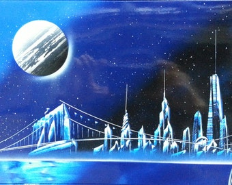 pyramids spray paint art 14 in x 22 in space paint by nycstart. Black Bedroom Furniture Sets. Home Design Ideas