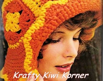 Crochet Granny Squares Hats and Headwear Patterns- 5 Patterns for 2.99 Dollars