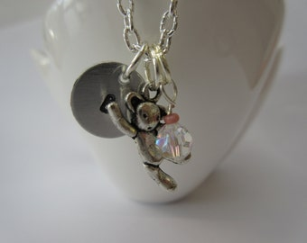 Silver charm necklace, hand stamped, personalised initial, teddy bear. Swarovski crystal. gift for girls, teenagers, women.