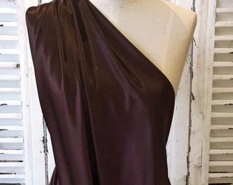 Leiela Dark Chocolate Stretch Satin Fabric