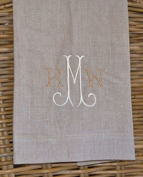Cheap Guest Towels: Set Of 2 Monogrammed Oatmeal Linen Guest Towels By SweetTeaEmb