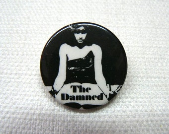 Vintage Early 80s The Damned - Grimly Fiendish Single Cover - Pin / Button / Badge