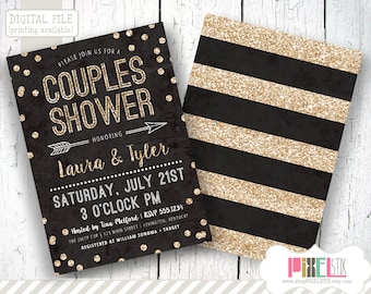 Couples Shower Invitation, Confetti Couples Shower Invite, Glitter Invitation, Black and Gold Invitation, DIY Printable