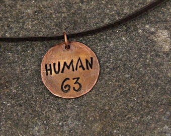 HUMAN 63 necklace, post-apocalyptic man's necklace