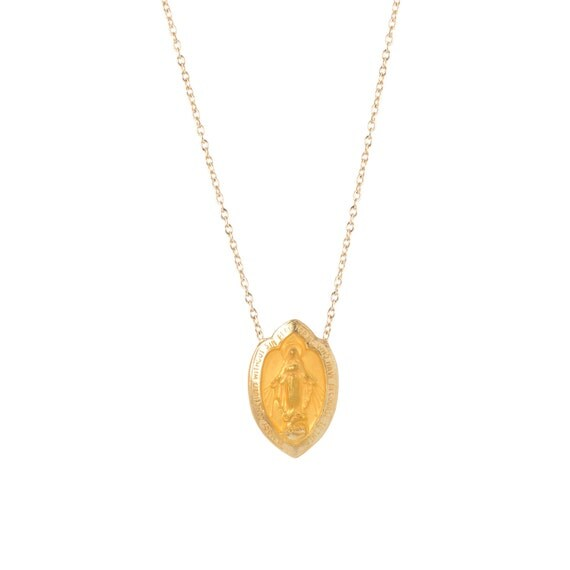 14k Gold Virgin Mary Scapular Protection Necklace