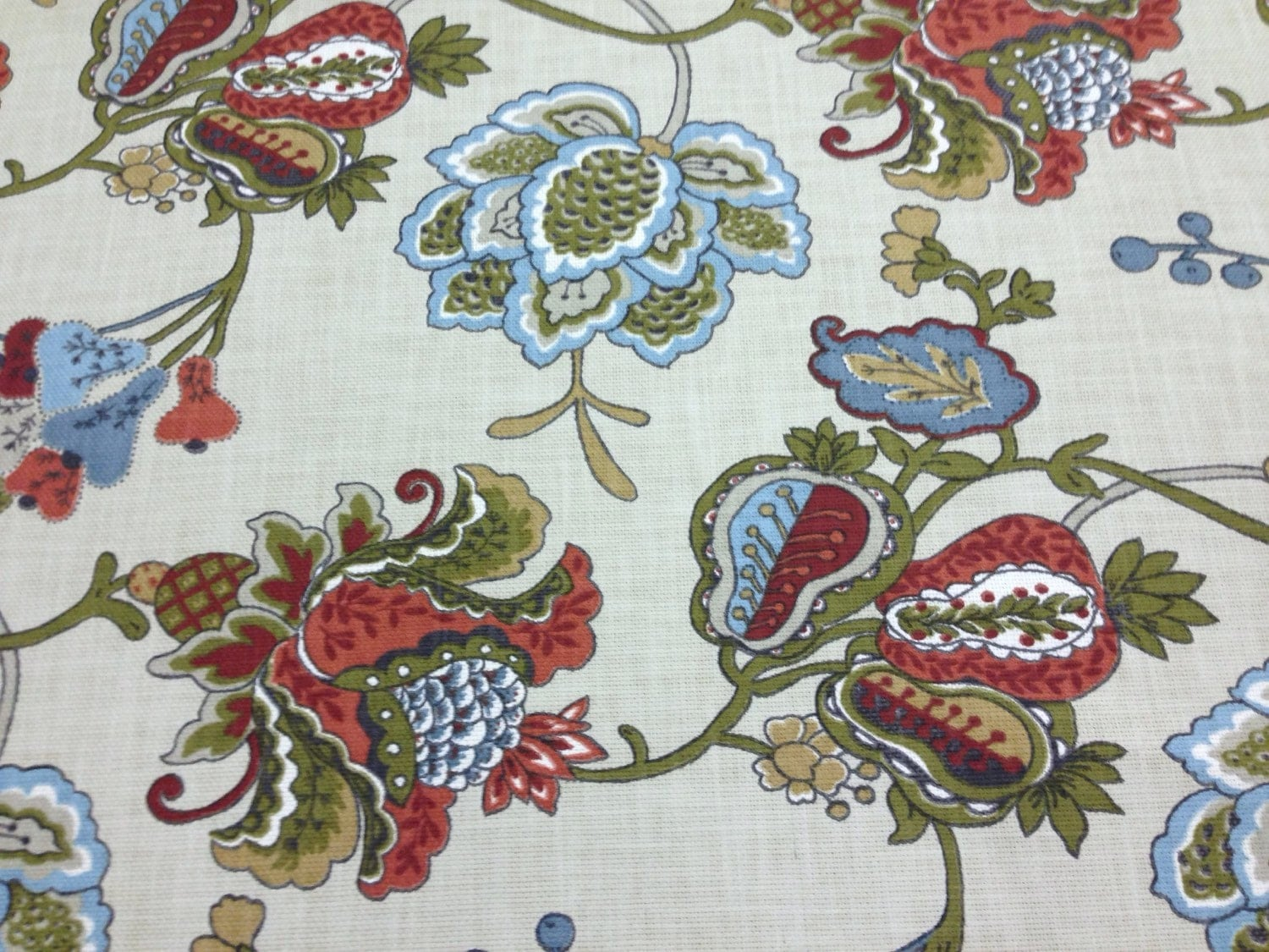 Terra Cotta Jacobean Fabric Upholstery Fabric By The Yard