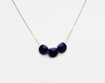 Navy Blue Wood Bead Necklace