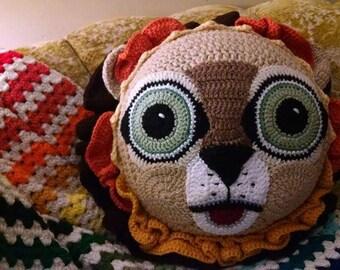 A Crochet Lion Pillow