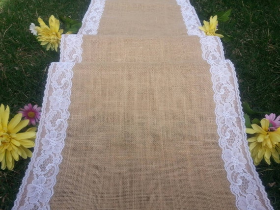 "40"" inches wide burlap aisle runner with lace/wedding aisle runner"