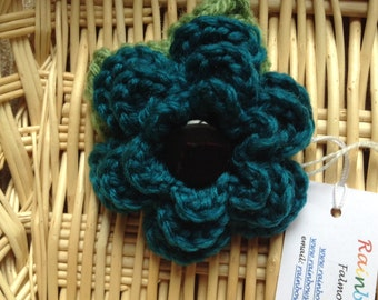 Hand Crochet Flower Brooch Corsage in Turquoise