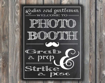 PRINTABLE Photo Booth Sign–Chalkboard Sign–DIY Photo Booth Sign–Wedding Photo booth Sign–8x10 Photo Booth Sign–Jpeg-Instant Download