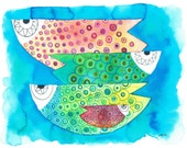 Fish watercolour-four fish watercolor painting-fish painting- colourful fish watercolour-abstract fish watercolour