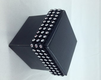 25 Black Favor Boxes, Rhinestones, Party Favor, Candy holder, Gift holder