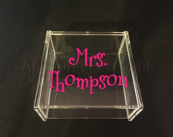 Mrs. Acrylic Box, Hinged Jewelry Box, Trinket Box, Teacher Gift, Teacher Appreciation, Bridal Gift, Acrylic Box, Personalized Gift