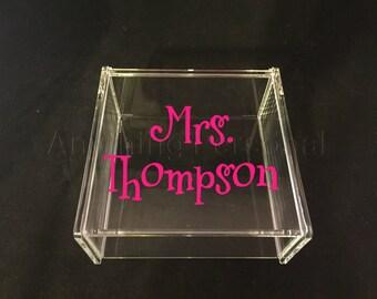 Mrs. Acrylic Box, Hinged Jewelry Box, Trinket Box, Teacher Gift, Teacher Appreciation, Bridal Gift, Acrylic Box, Personalized Gift