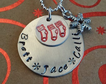 Stocking charm with your kiddos name's underneath.