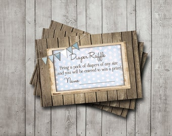 Boy Baby Shower Diaper Raffle Tickets Rustic Wood Blue Bunting Banner Vintage Shabby Printable Instant Download Digital File