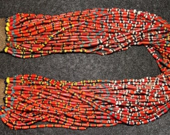 Glass Bead Necklace : Authentic Naga Extra Fine Multicolored Multistrand Glass Bead Necklace #584