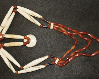 Naga : Authentic Ao Naga Warrior Shell and Carnelian Necklace #602