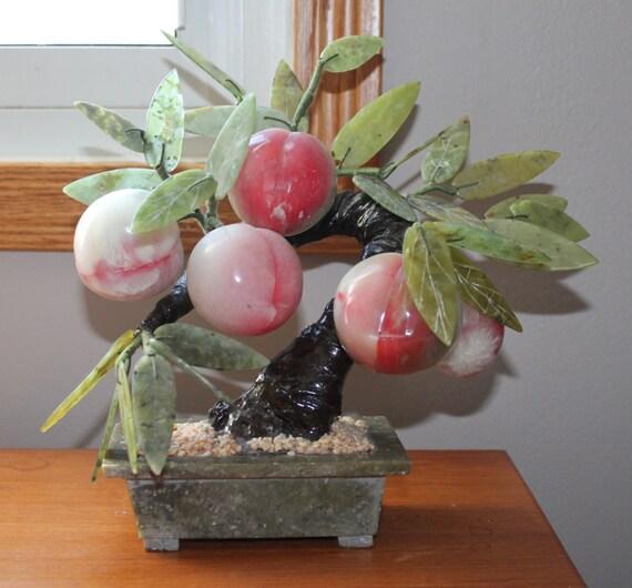 Vintage Chinese Jade Bonsai Peach Tree Jade Bonsai Tree With
